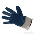 Перчатки нитриловые, манжета крага, неполный облив